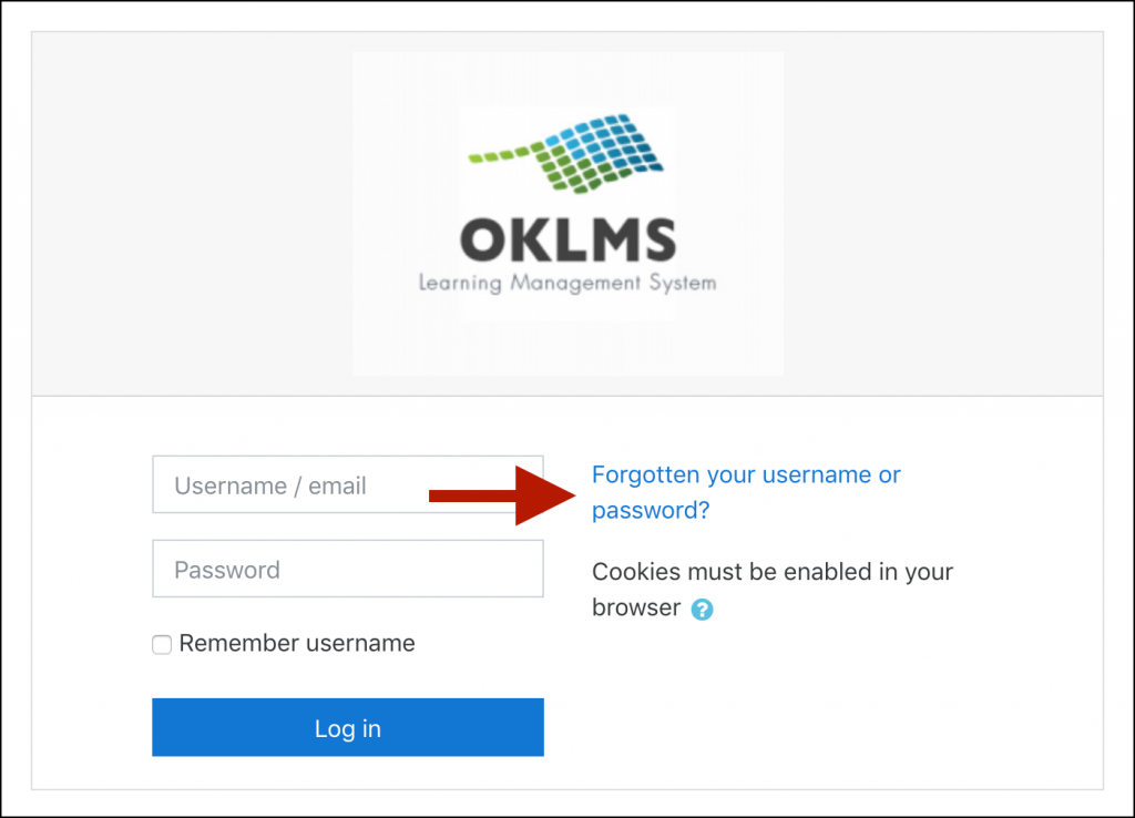 "OKLMS login window, with an arrow indicating the ""Forgotten your username or password?"" link"