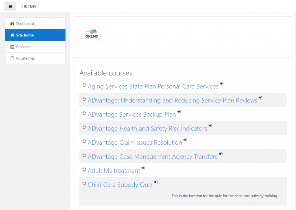 "OKLMS ""Available courses"" page"