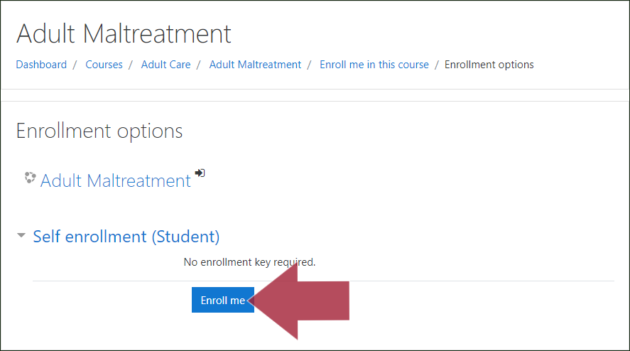 "Example ""Enrollment options"" window, with an arrow indicating the ""Enroll me"" button"
