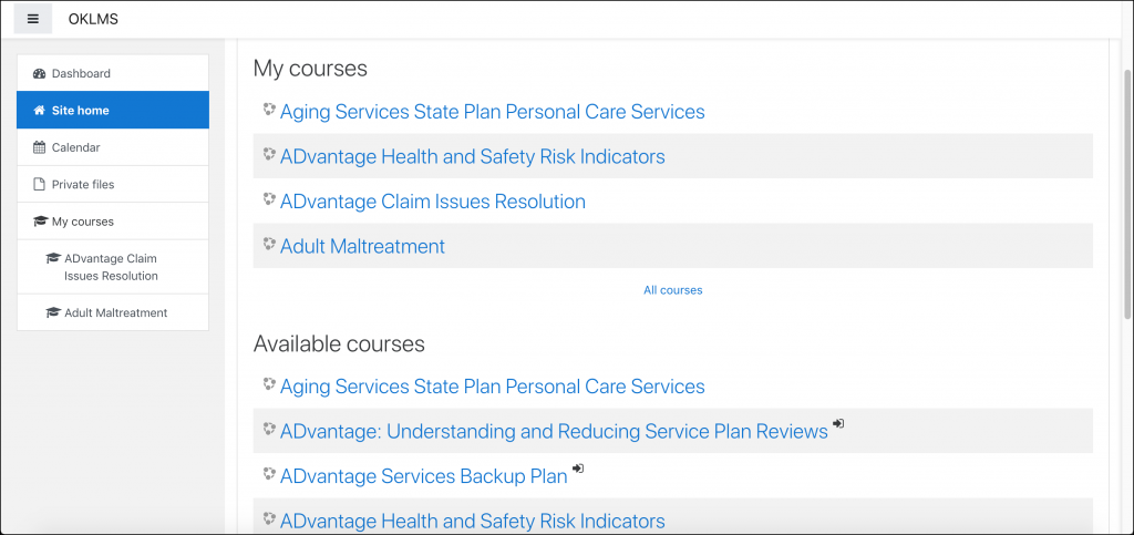 "Example OKDHS ""Site home"" page, displaying a list of courses divided into two sections: My courses and Available courses."